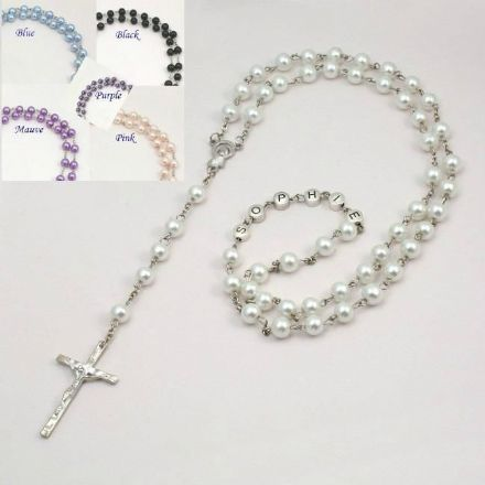 Pearl Rosary Beads with Name